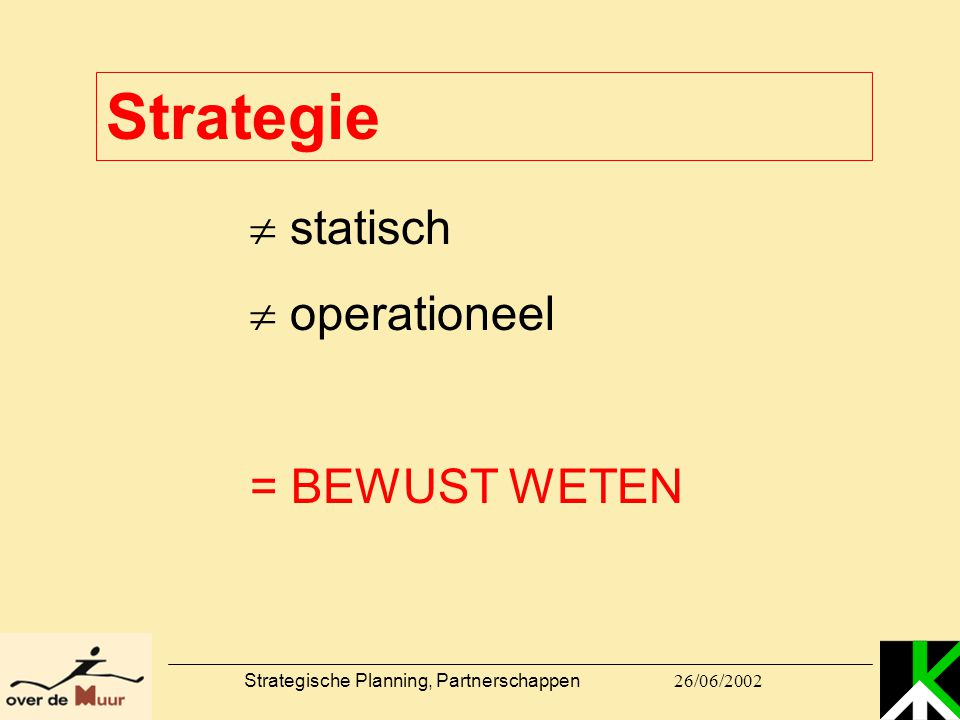 26/06/2002 Strategische Planning, Partnerschappen Strategie  statisch  operationeel = BEWUST WETEN