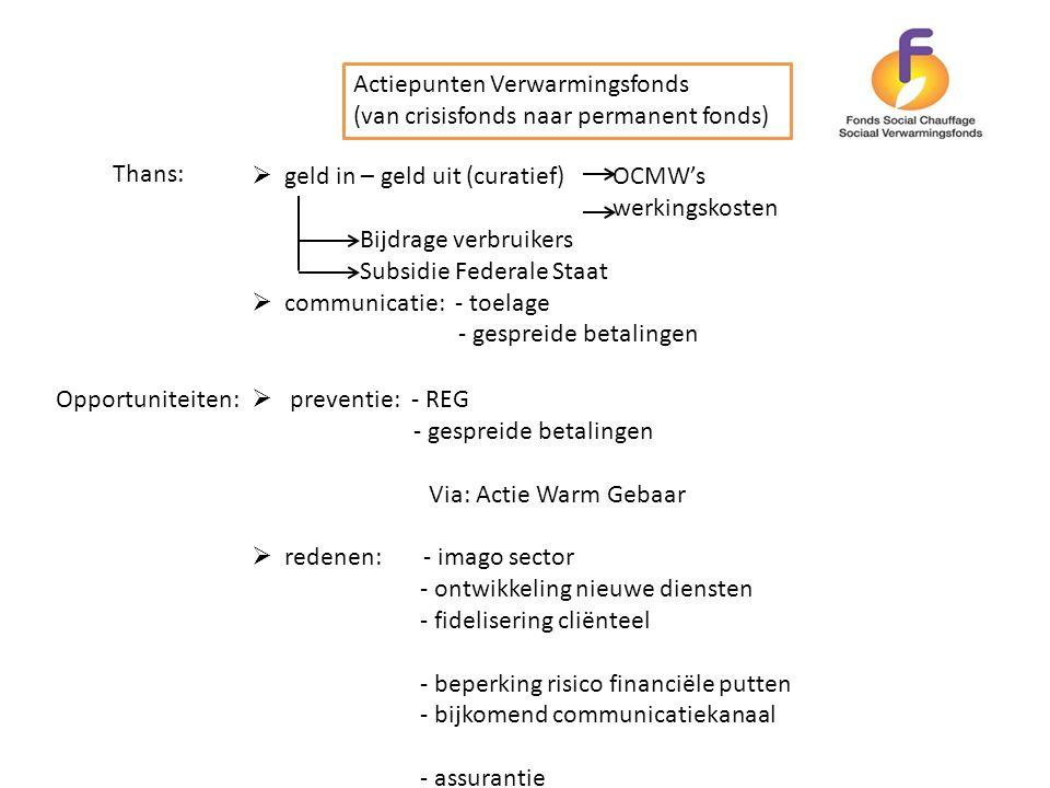 Actiepunten Verwarmingsfonds (van crisisfonds naar permanent fonds) Thans:  geld in – geld uit (curatief) OCMW's werkingskosten Bijdrage verbruikers