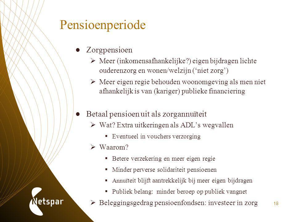 Pensioenperiode ●Zorgpensioen  Meer (inkomensafhankelijke?) eigen bijdragen lichte ouderenzorg en wonen/welzijn ('niet zorg')  Meer eigen regie beho