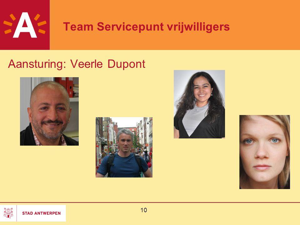 10 Team Servicepunt vrijwilligers Aansturing: Veerle Dupont