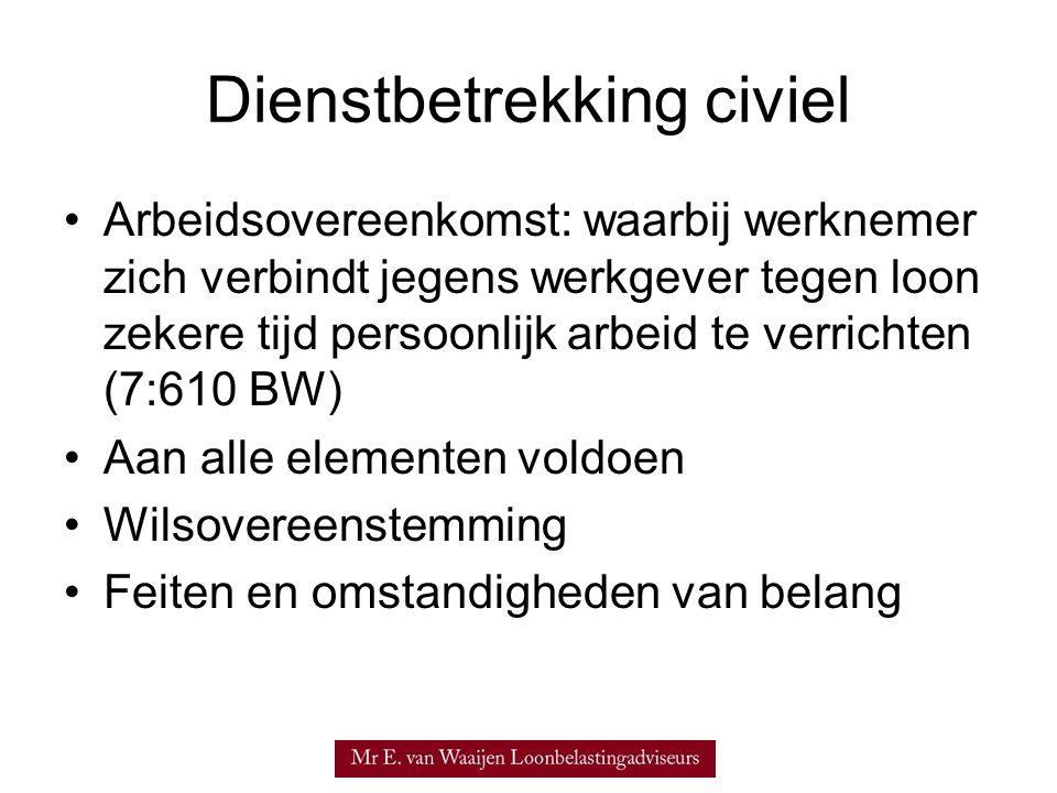 Beleidsregels beoordeling dienstbetrekking •Verklaring Arbeidsrelatie (VAR) biedt vooraf zekerheid over kwalificatie arbeidsrelatie: –VAR wuo, dan wel –VAR-dga •Echter, nieuwe beleidsregels van 6 juli 2006: –'afgegeven VAR-dga mag alleen in relatie met derdenopdrachtgevers gebruikt worden' –'VAR-dga zegt niets over relatie met de eigen vennootschap (vennootschap waarin de houder –van VAR-dga aandelen bezit)'
