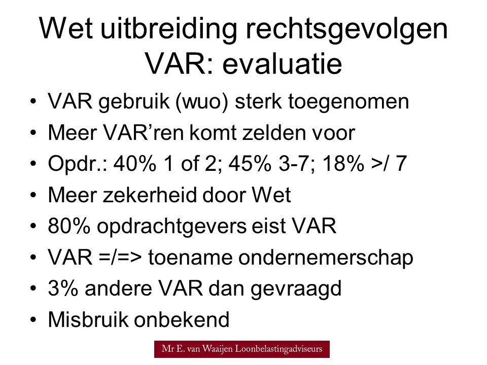 •VAR gebruik (wuo) sterk toegenomen •Meer VAR'ren komt zelden voor •Opdr.: 40% 1 of 2; 45% 3-7; 18% >/ 7 •Meer zekerheid door Wet •80% opdrachtgevers