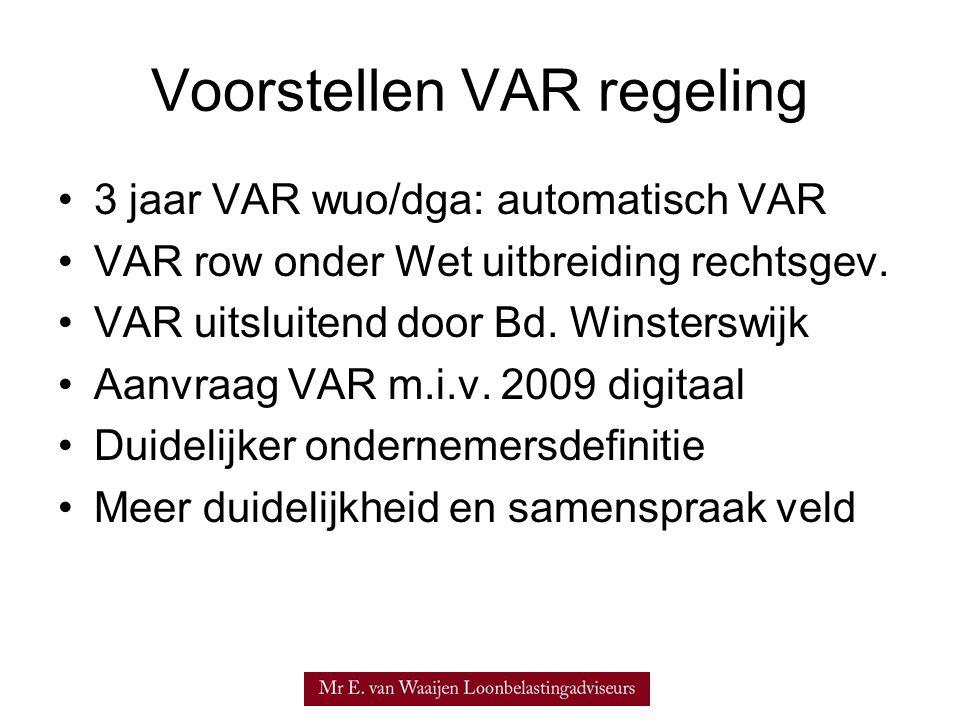 Voorstellen VAR regeling •3 jaar VAR wuo/dga: automatisch VAR •VAR row onder Wet uitbreiding rechtsgev. •VAR uitsluitend door Bd. Winsterswijk •Aanvra