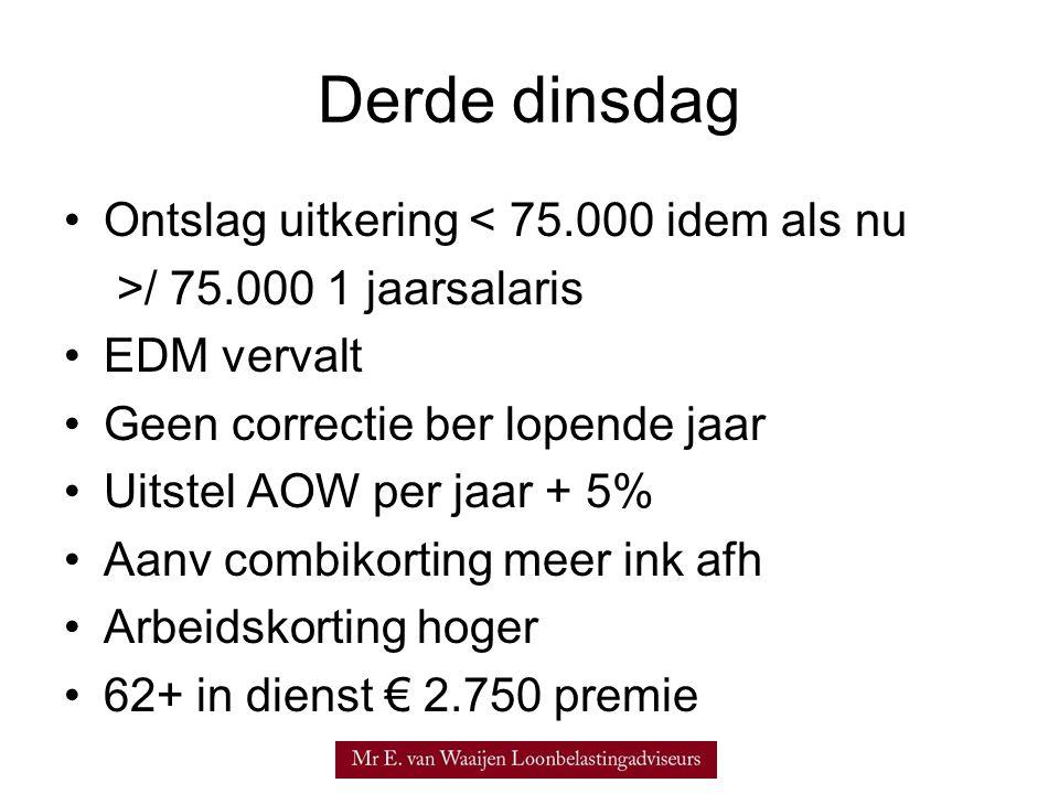 Derde dinsdag •Ontslag uitkering < 75.000 idem als nu >/ 75.000 1 jaarsalaris •EDM vervalt •Geen correctie ber lopende jaar •Uitstel AOW per jaar + 5%