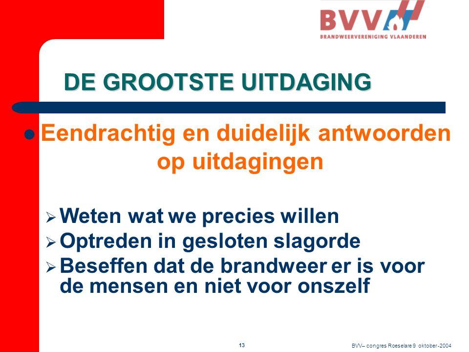 BVV– congres Roeselare 9 oktober -2004 12 BVV wil alles niet alleen doen  Samenwerking met VVSG  Periodiek overleg  Gezamenlijke standpunten en documenten  VVSG-werkgroep brandweer  Ronde van Vlaanderen VVSG - BVV  Overleg met verzekeringssector  Oplossingen voor een betere verzekering