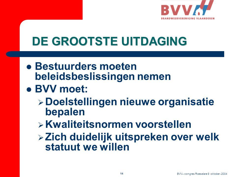 BVV– congres Roeselare 9 oktober -2004 13 DE GROOTSTE UITDAGING  Eendrachtig en duidelijk antwoorden op uitdagingen  Weten wat we precies willen  Optreden in gesloten slagorde  Beseffen dat de brandweer er is voor de mensen en niet voor onszelf
