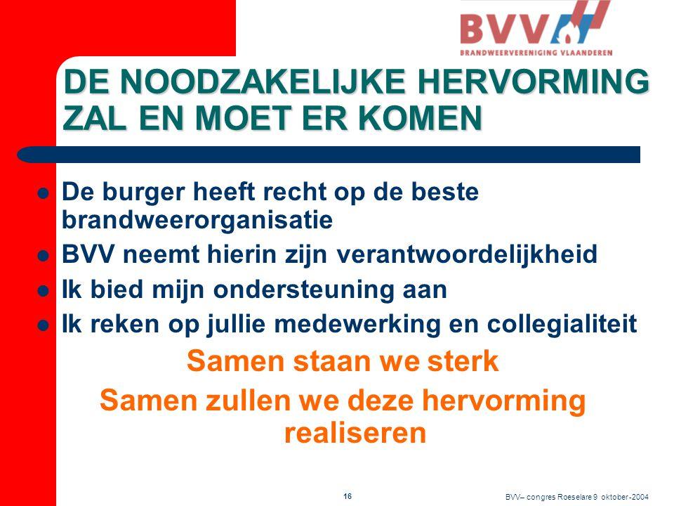 BVV– congres Roeselare 9 oktober -2004 15 Optreden in gesloten slagorde Daar wil ik voor gaan  Goede interne communicatie absolute noodzaak !!!  Via