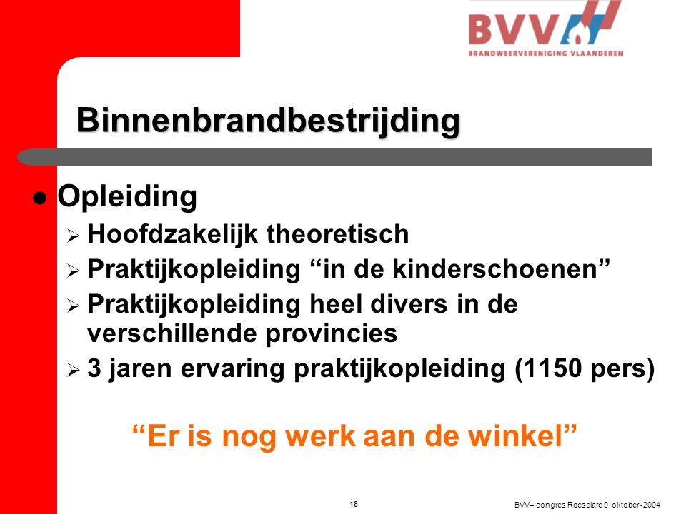 BVV– congres Roeselare 9 oktober -2004 17 Binnenbrandbestrijding  In België offensieve binnenbrandbestrijding  Binnenbrandbestrijding gevaarlijkste