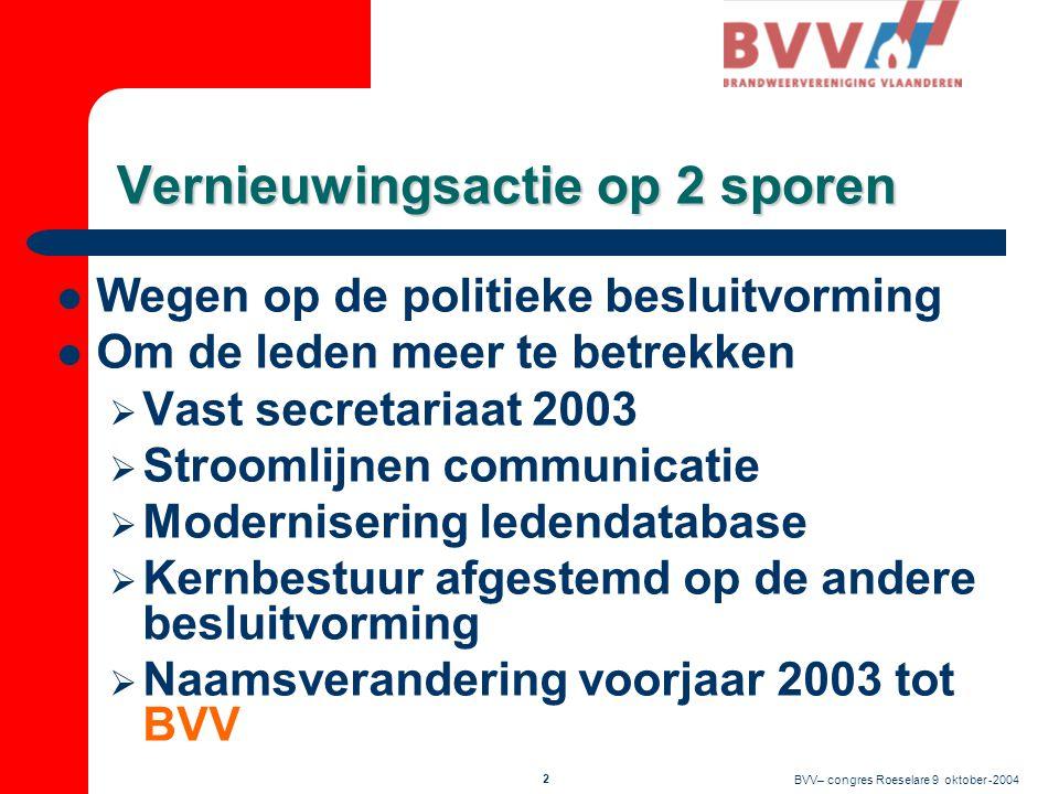 1 BrandweerVereniging Vlaanderen CONGRES Zaterdag 9 oktober 2004 Roeselare Eén antwoord op de nieuwe uitdagingen