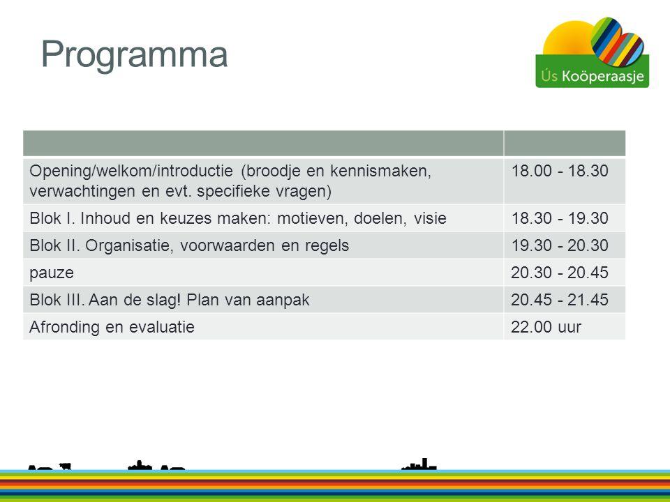 Programma Opening/welkom/introductie (broodje en kennismaken, verwachtingen en evt. specifieke vragen) 18.00 - 18.30 Blok I. Inhoud en keuzes maken: m