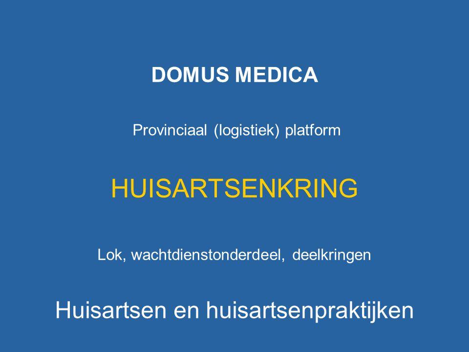 DOMUS MEDICA Provinciaal (logistiek) platform HUISARTSENKRING Lok, wachtdienstonderdeel, deelkringen Huisartsen en huisartsenpraktijken