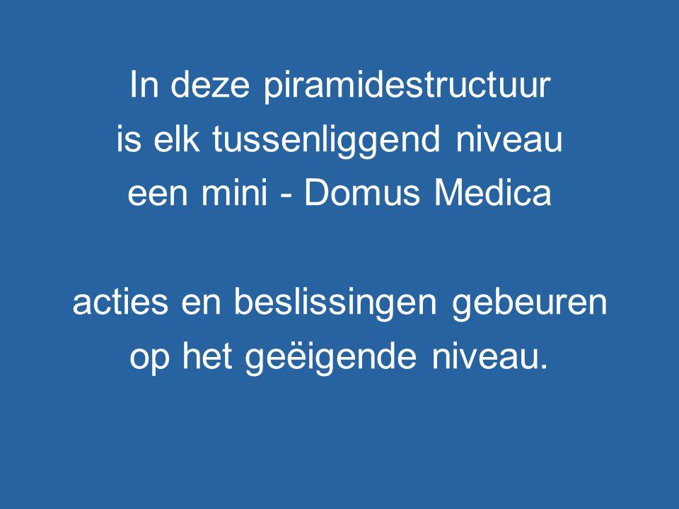 In deze piramidestructuur is elk tussenliggend niveau een mini - Domus Medica acties en beslissingen gebeuren op het geëigende niveau.