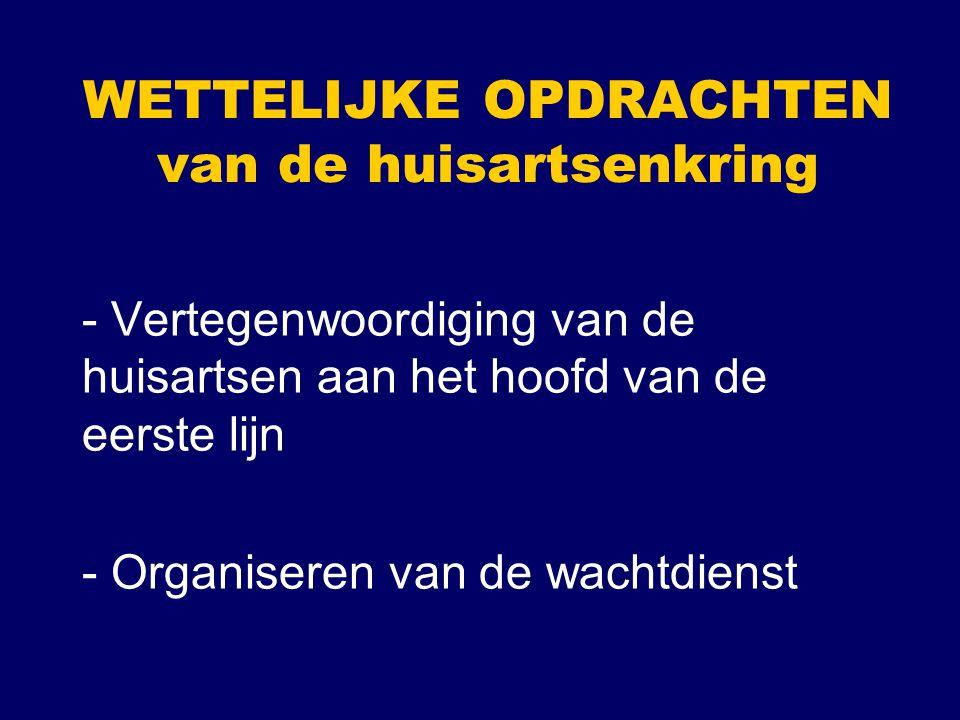 WETTELIJKE OPDRACHTEN van de huisartsenkring - Vertegenwoordiging van de huisartsen aan het hoofd van de eerste lijn - Organiseren van de wachtdienst
