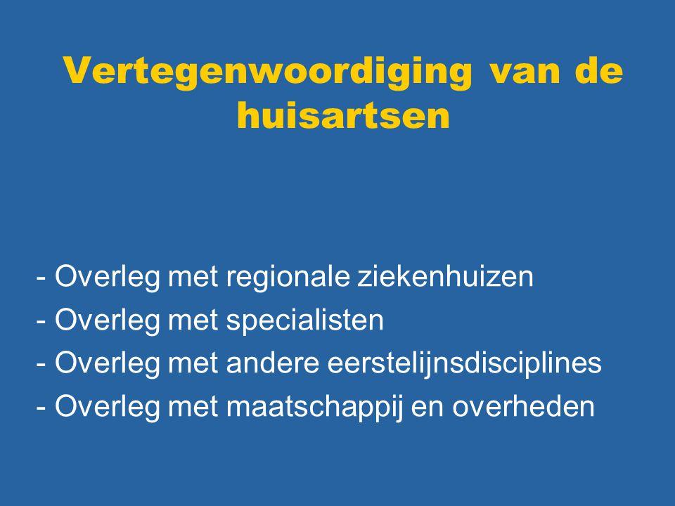 Vertegenwoordiging van de huisartsen - Overleg met regionale ziekenhuizen - Overleg met specialisten - Overleg met andere eerstelijnsdisciplines - Ove
