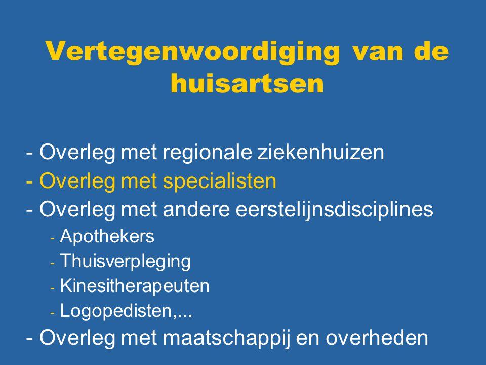 Vertegenwoordiging van de huisartsen - Overleg met regionale ziekenhuizen - Overleg met specialisten - Overleg met andere eerstelijnsdisciplines - Apo