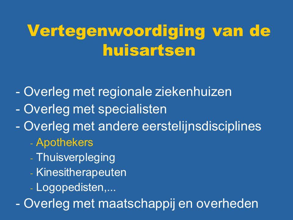 Vertegenwoordiging van de huisartsen - Overleg met regionale ziekenhuizen - Overleg met specialisten - Overleg met andere eerstelijnsdisciplines - Apothekers - Thuisverpleging - Kinesitherapeuten - Logopedisten,...