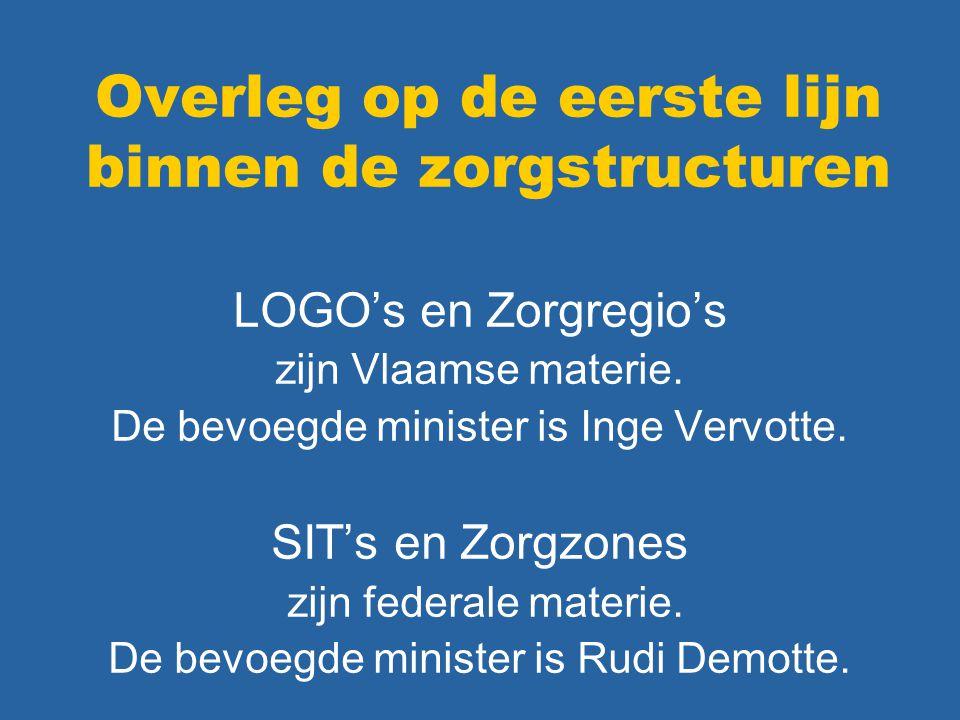 Overleg op de eerste lijn binnen de zorgstructuren LOGO's en Zorgregio's zijn Vlaamse materie. De bevoegde minister is Inge Vervotte. SIT's en Zorgzon