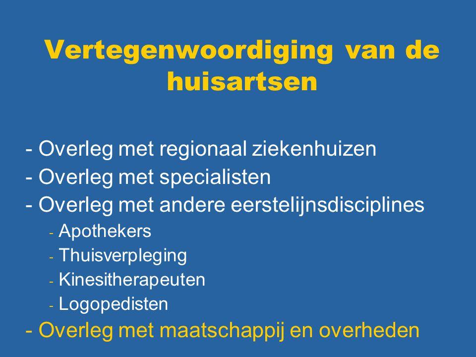 Vertegenwoordiging van de huisartsen - Overleg met regionaal ziekenhuizen - Overleg met specialisten - Overleg met andere eerstelijnsdisciplines - Apo