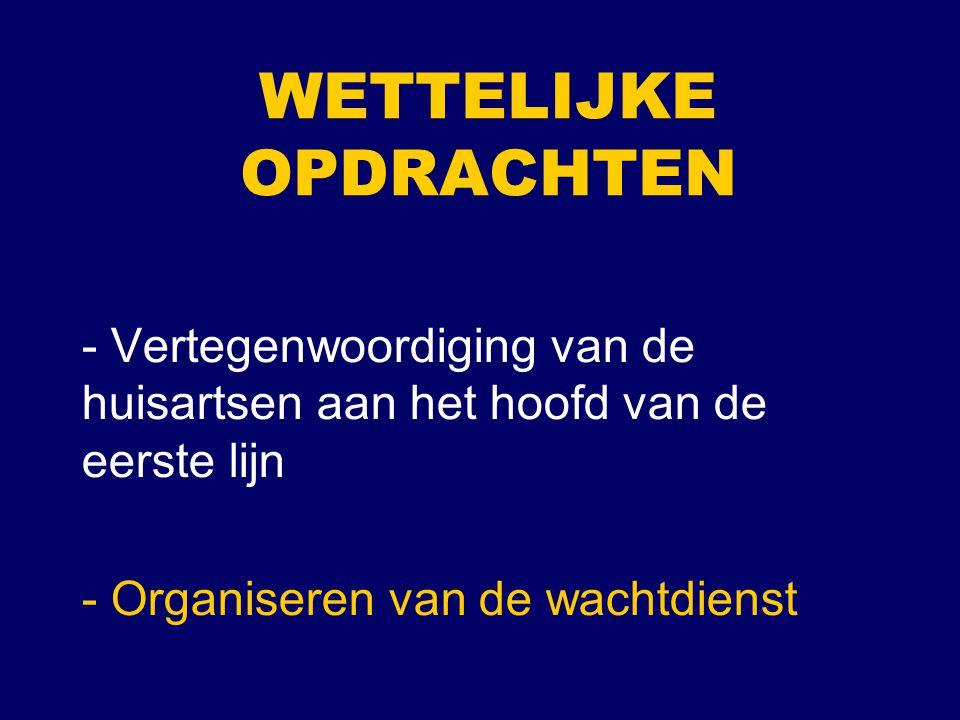 WETTELIJKE OPDRACHTEN - Vertegenwoordiging van de huisartsen aan het hoofd van de eerste lijn - Organiseren van de wachtdienst