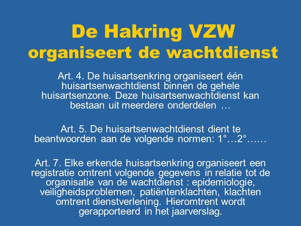 De Hakring VZW organiseert de wachtdienst Art. 4. De huisartsenkring organiseert één huisartsenwachtdienst binnen de gehele huisartsenzone. Deze huisa