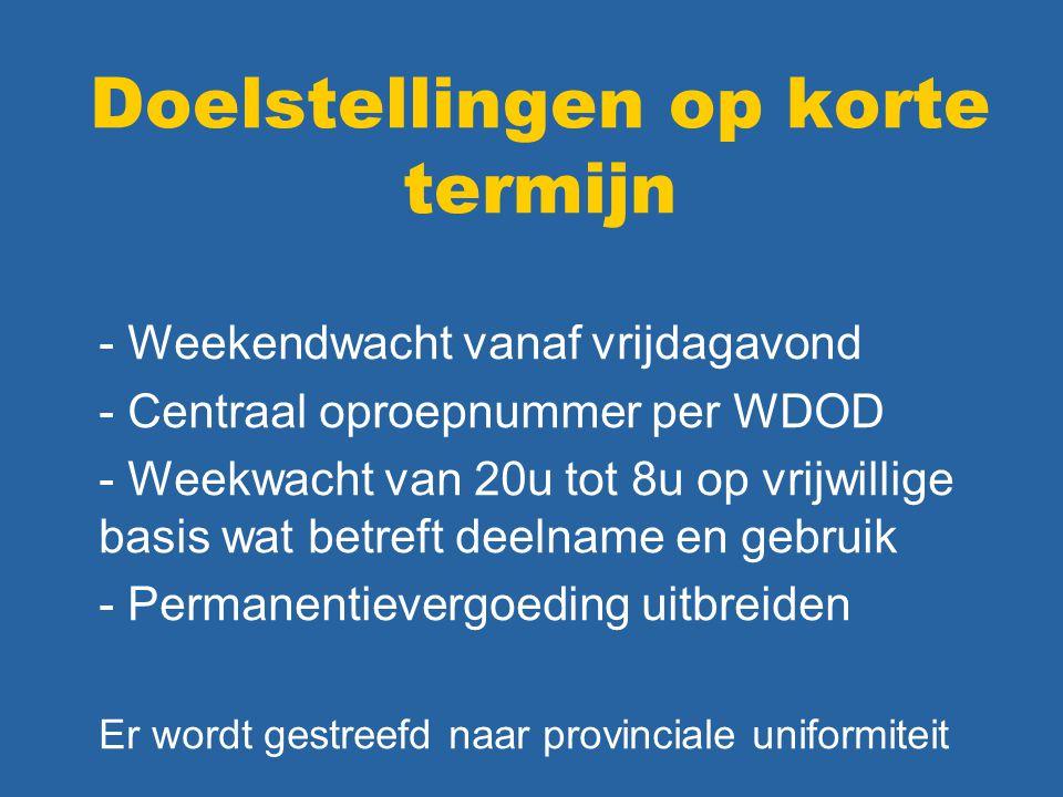 Doelstellingen op korte termijn - Weekendwacht vanaf vrijdagavond - Centraal oproepnummer per WDOD - Weekwacht van 20u tot 8u op vrijwillige basis wat