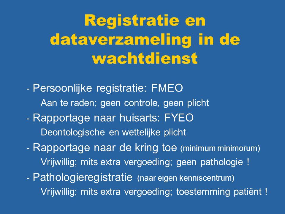 Registratie en dataverzameling in de wachtdienst - Persoonlijke registratie: FMEO Aan te raden; geen controle, geen plicht - Rapportage naar huisarts: