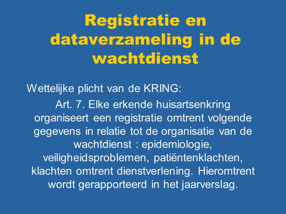 Registratie en dataverzameling in de wachtdienst Wettelijke plicht van de KRING: Art. 7. Elke erkende huisartsenkring organiseert een registratie omtr
