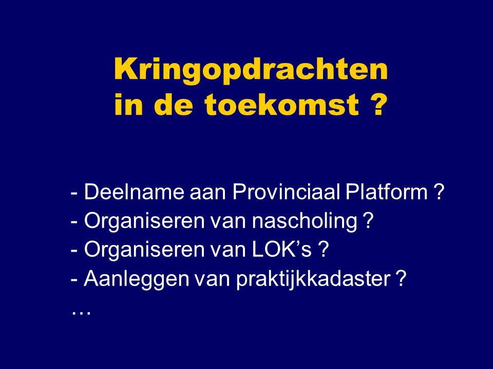 Kringopdrachten in de toekomst ? - Deelname aan Provinciaal Platform ? - Organiseren van nascholing ? - Organiseren van LOK's ? - Aanleggen van prakti