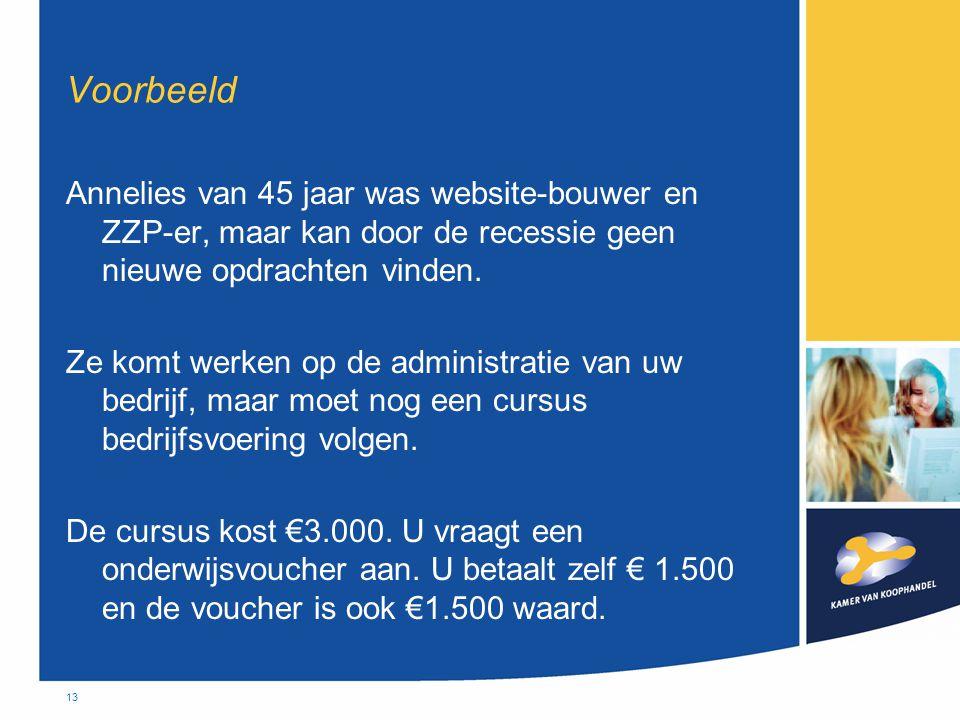 13 Voorbeeld Annelies van 45 jaar was website-bouwer en ZZP-er, maar kan door de recessie geen nieuwe opdrachten vinden. Ze komt werken op de administ