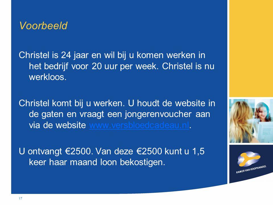 17 Voorbeeld Christel is 24 jaar en wil bij u komen werken in het bedrijf voor 20 uur per week. Christel is nu werkloos. Christel komt bij u werken. U