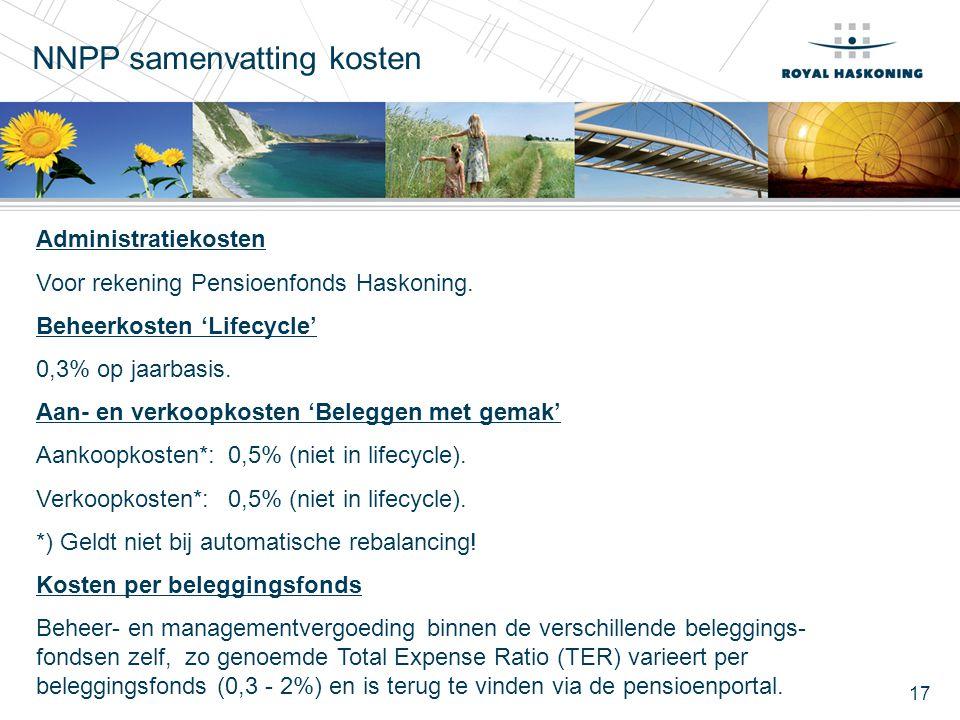 17 Administratiekosten Voor rekening Pensioenfonds Haskoning. Beheerkosten 'Lifecycle' 0,3% op jaarbasis. Aan- en verkoopkosten 'Beleggen met gemak' A