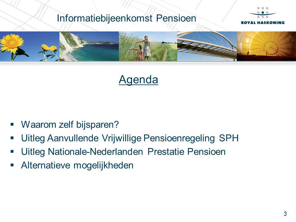 3 Informatiebijeenkomst Pensioen Agenda  Waarom zelf bijsparen?  Uitleg Aanvullende Vrijwillige Pensioenregeling SPH  Uitleg Nationale-Nederlanden