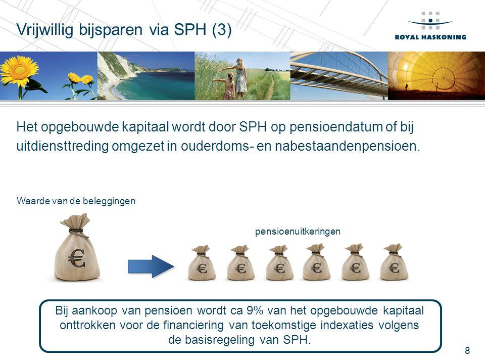8 Het opgebouwde kapitaal wordt door SPH op pensioendatum of bij uitdiensttreding omgezet in ouderdoms- en nabestaandenpensioen. Vrijwillig bijsparen