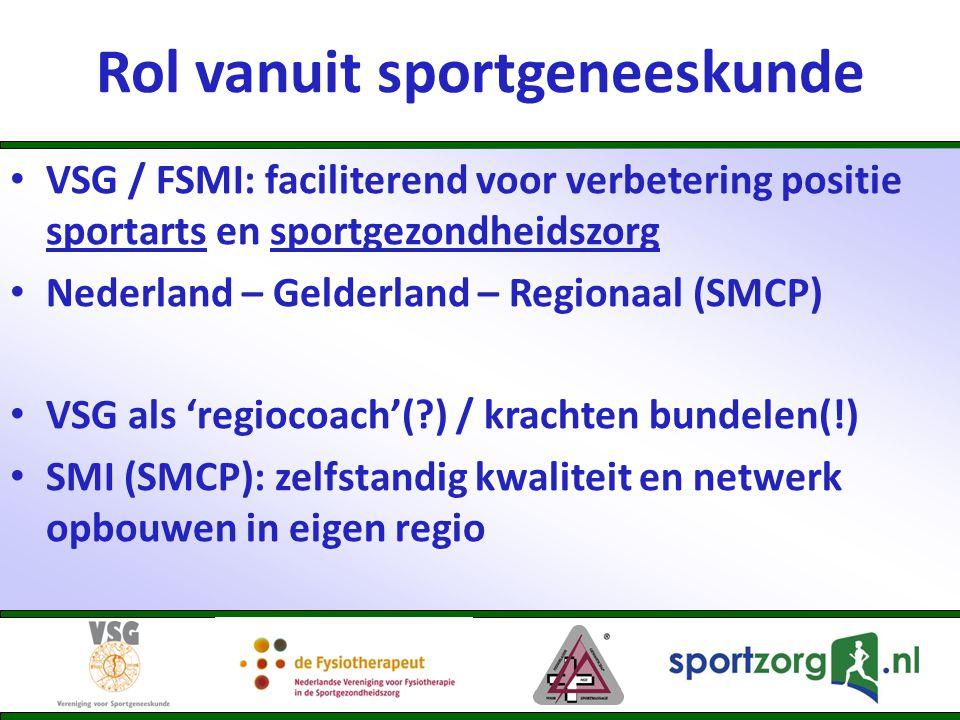 Rol vanuit sportgeneeskunde • VSG / FSMI: faciliterend voor verbetering positie sportarts en sportgezondheidszorg • Nederland – Gelderland – Regionaal