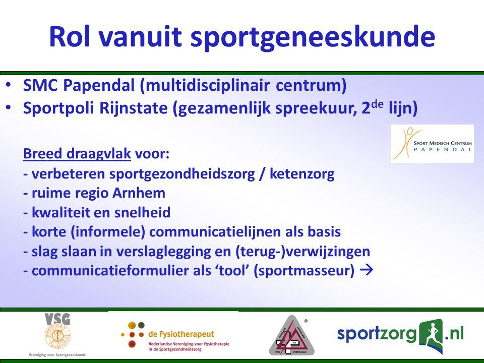 Rol vanuit sportgeneeskunde • SMC Papendal (multidisciplinair centrum) • Sportpoli Rijnstate (gezamenlijk spreekuur, 2 de lijn) Breed draagvlak voor: