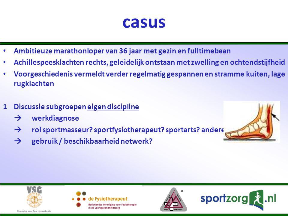 casus • Ambitieuze marathonloper van 36 jaar met gezin en fulltimebaan • Achillespeesklachten rechts, geleidelijk ontstaan met zwelling en ochtendstij