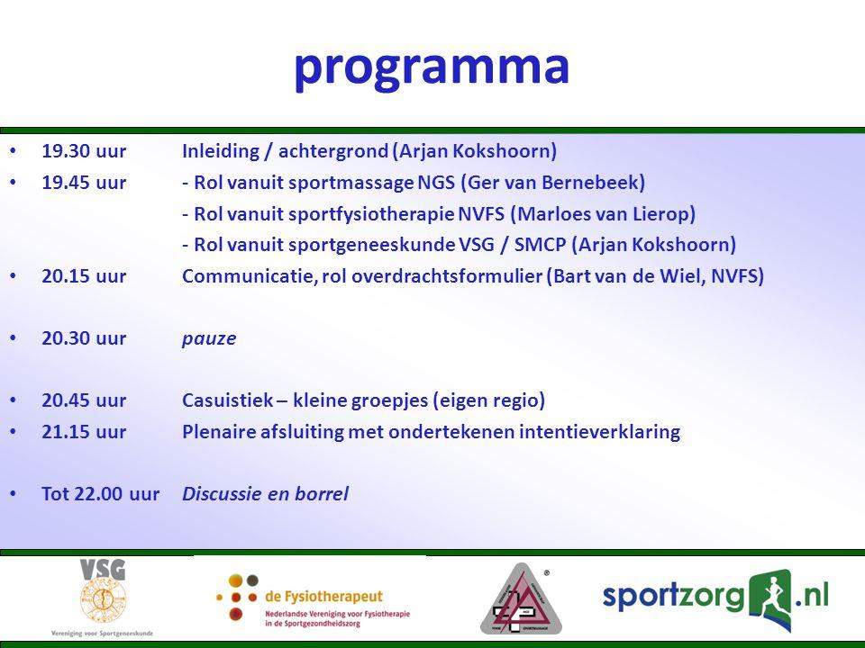 Rol vanuit sportgeneeskunde • Definitie sportgeneeskunde (sportarts): ' het medisch specialisme dat zich richt op het bevorderen, waarborgen en herstellen van de gezondheid van (potentiele) deelnemers aan sport en sportieve activiteiten.