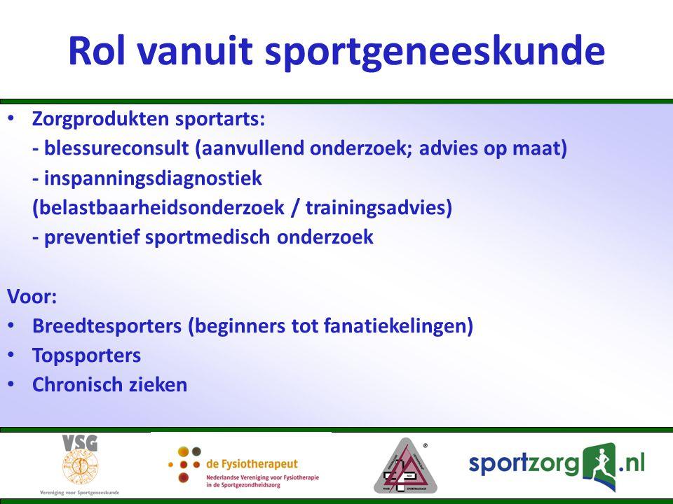 Rol vanuit sportgeneeskunde • Zorgprodukten sportarts: - blessureconsult (aanvullend onderzoek; advies op maat) - inspanningsdiagnostiek (belastbaarhe