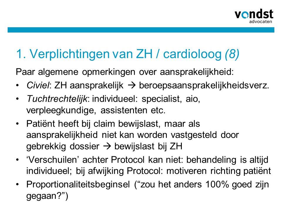 1. Verplichtingen van ZH / cardioloog (8) Paar algemene opmerkingen over aansprakelijkheid: •Civiel: ZH aansprakelijk  beroepsaansprakelijkheidsverz.
