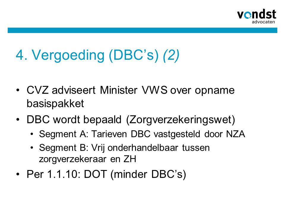 4. Vergoeding (DBC's) (2) •CVZ adviseert Minister VWS over opname basispakket •DBC wordt bepaald (Zorgverzekeringswet) •Segment A: Tarieven DBC vastge