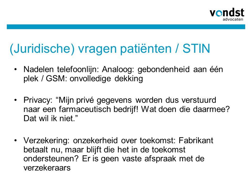 """(Juridische) vragen patiënten / STIN •Nadelen telefoonlijn: Analoog: gebondenheid aan één plek / GSM: onvolledige dekking •Privacy: """"Mijn privé gegeve"""