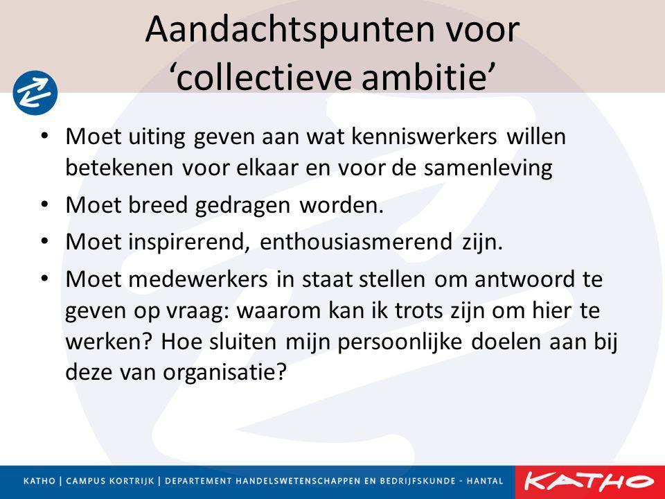 Aandachtspunten voor 'collectieve ambitie' • Moet uiting geven aan wat kenniswerkers willen betekenen voor elkaar en voor de samenleving • Moet breed