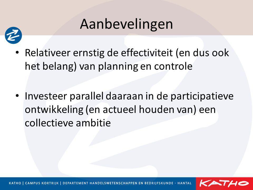 Aanbevelingen • Relativeer ernstig de effectiviteit (en dus ook het belang) van planning en controle • Investeer parallel daaraan in de participatieve