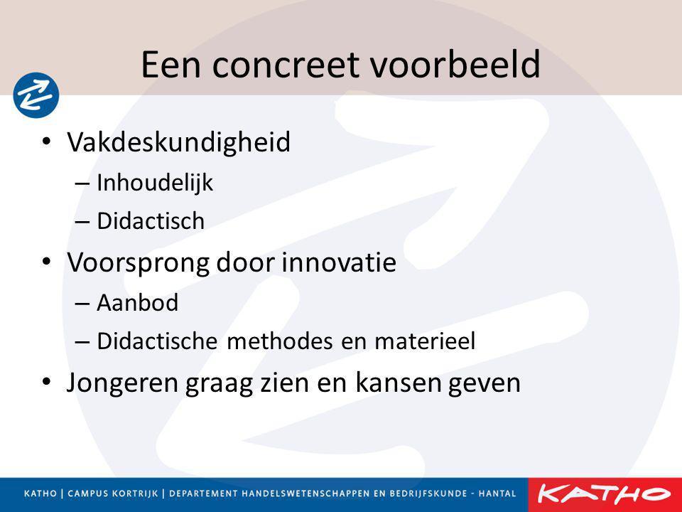Een concreet voorbeeld • Vakdeskundigheid – Inhoudelijk – Didactisch • Voorsprong door innovatie – Aanbod – Didactische methodes en materieel • Jonger