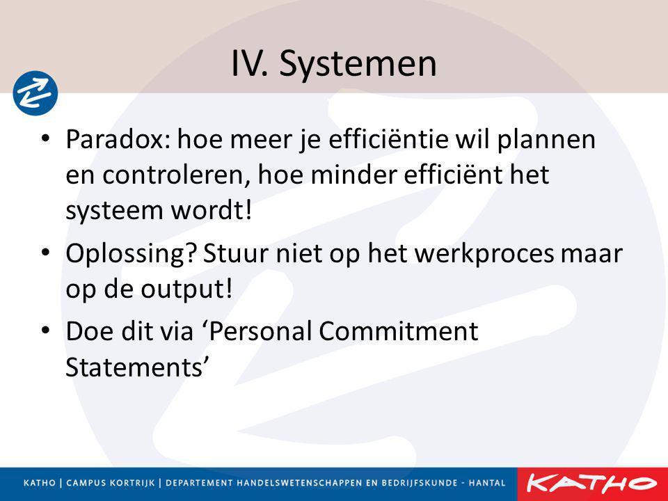 IV. Systemen • Paradox: hoe meer je efficiëntie wil plannen en controleren, hoe minder efficiënt het systeem wordt! • Oplossing? Stuur niet op het wer