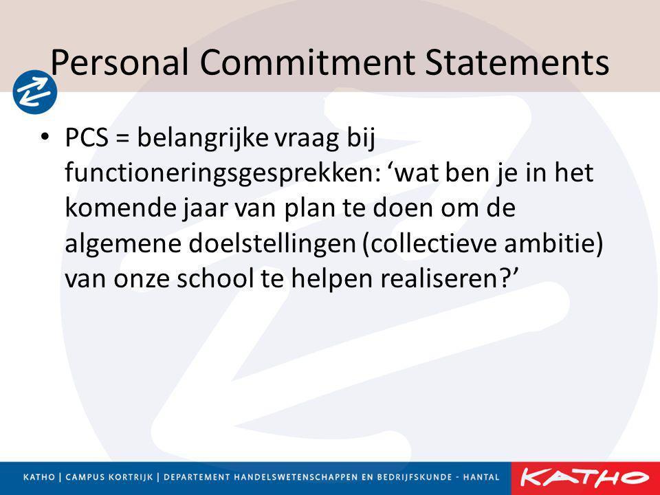 Personal Commitment Statements • PCS = belangrijke vraag bij functioneringsgesprekken: 'wat ben je in het komende jaar van plan te doen om de algemene