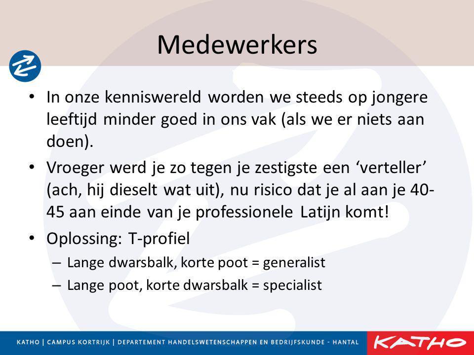 Medewerkers • In onze kenniswereld worden we steeds op jongere leeftijd minder goed in ons vak (als we er niets aan doen). • Vroeger werd je zo tegen
