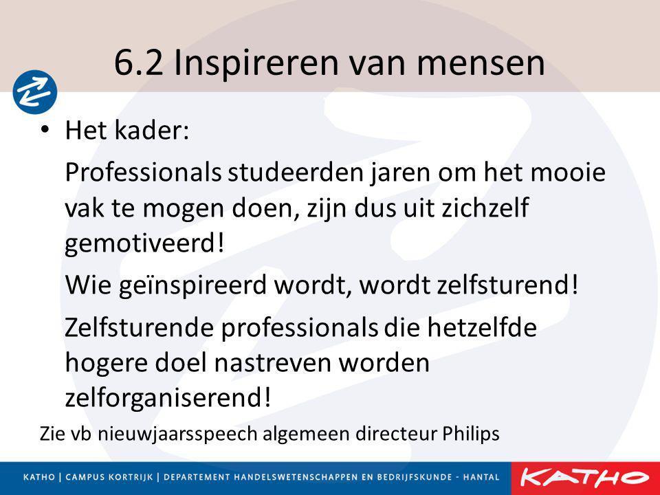 6.2 Inspireren van mensen • Het kader: Professionals studeerden jaren om het mooie vak te mogen doen, zijn dus uit zichzelf gemotiveerd! Wie geïnspire