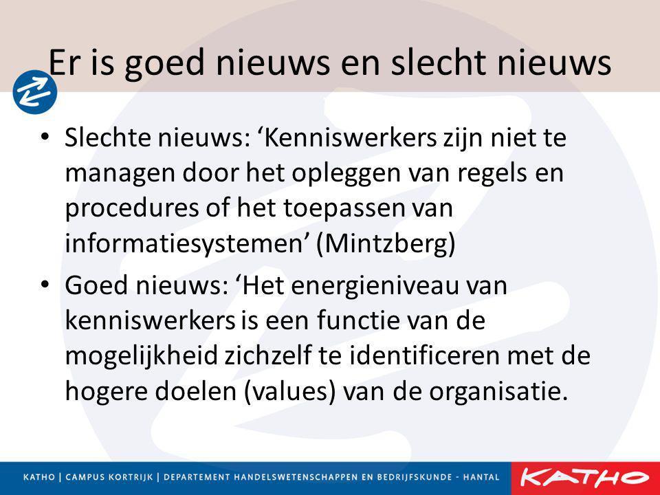 Er is goed nieuws en slecht nieuws • Slechte nieuws: 'Kenniswerkers zijn niet te managen door het opleggen van regels en procedures of het toepassen v