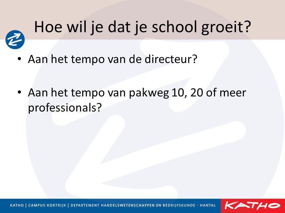 Hoe wil je dat je school groeit? • Aan het tempo van de directeur? • Aan het tempo van pakweg 10, 20 of meer professionals?